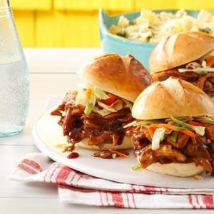 BBQ Chicken Sliders Recipe -Brining the chicken overnight helps make it taste…
