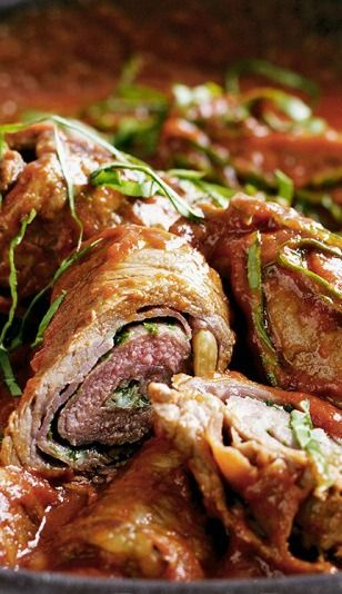 Italian Beef Steak Rolls (Beef Braciole) Recipe — Roll up these tasty Italian-style steaks with herb, pine nut, & Parmesan cheese filling, & prosciutto wrapping - to create a gourmet meal at home!