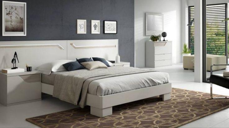 Chambre adulte complète avec chevets et tête de lit en finition laquée