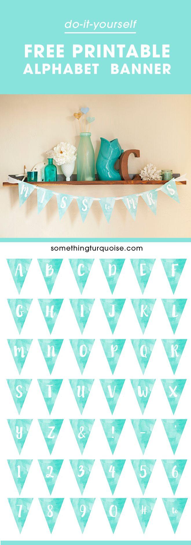 FREE Printable Watercolor Alphabet Banner! Adorable!