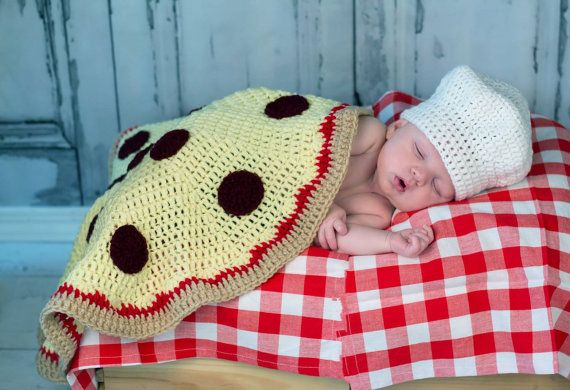 Perfect! Crochet Pizza Blanket with Baker Chef Hat newborn by jwhizcrochet, $70.00