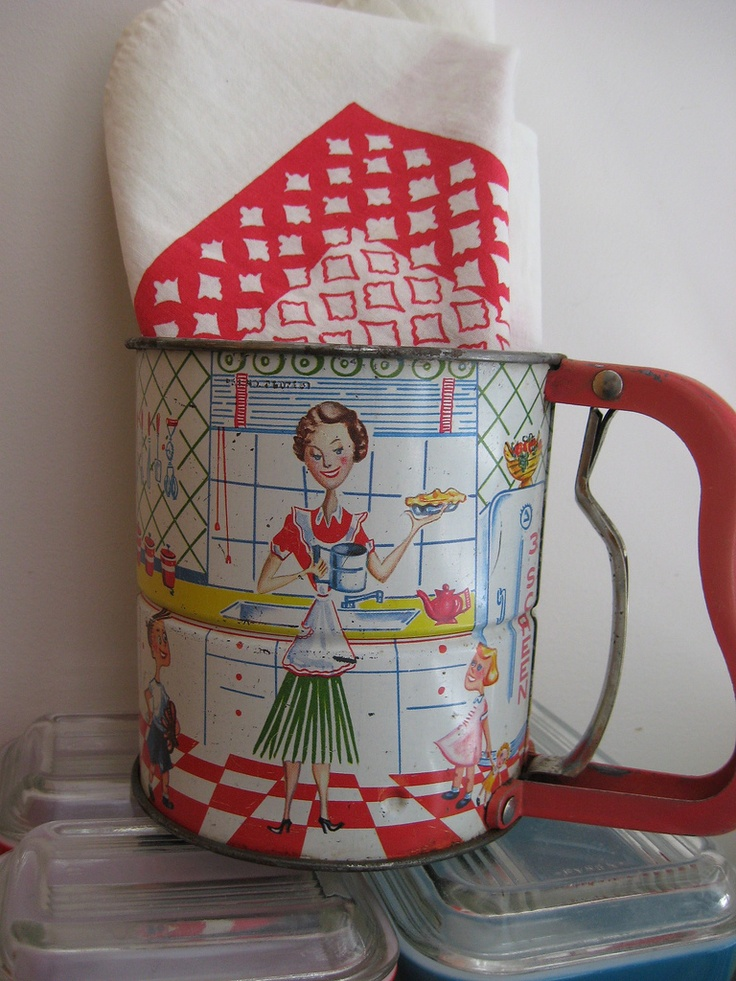 1950s sifter.  I have this too.  My favorite piece of kitchenalia.