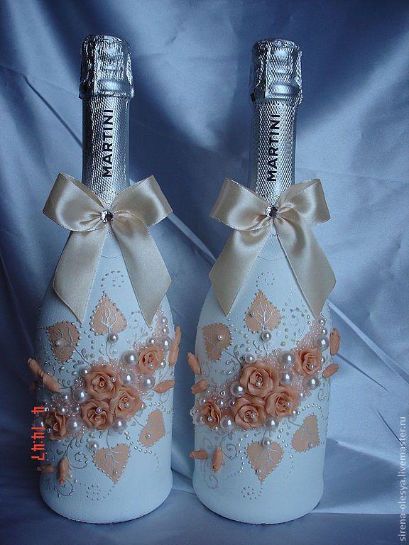 """Купить Оформление бутылок """"Гламур"""" - белый, шампанское на свадьбу, шампанское, оформление свадьбы, оформление бутылок"""