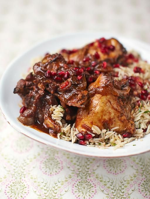 Pomegranate and chicken stew. A rich, sweet  delicious meal. It might sound like a strange ingredient, but the pomegranate brings a tomato and chicken stew to life | Jamie Magazine