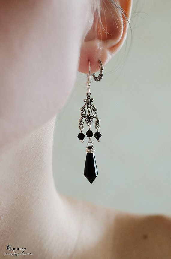 Gothic chandelier earrings  Gothic Earrings  by VictoriaEquinox  gothic, jewelry, chandelier earrings, black, silver, art nouveau, victorian
