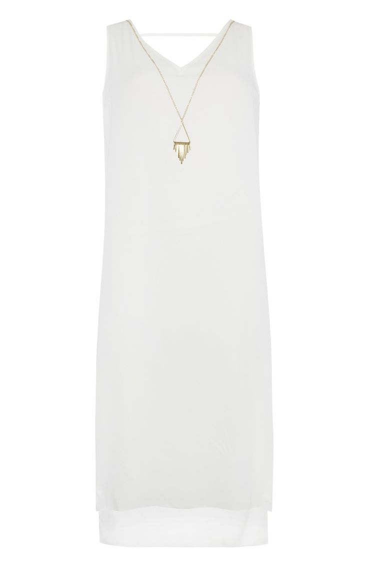 Primark - White Longline Dress With Necklace
