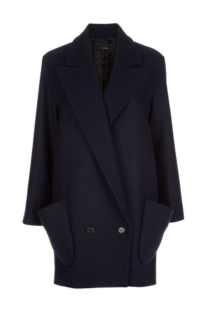 Slim Fit Double Breasted Navy Coat OASAP.com