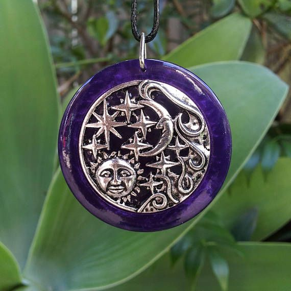 Sun and Moon Pendant in Purple Pearl Resin  Free Shipping