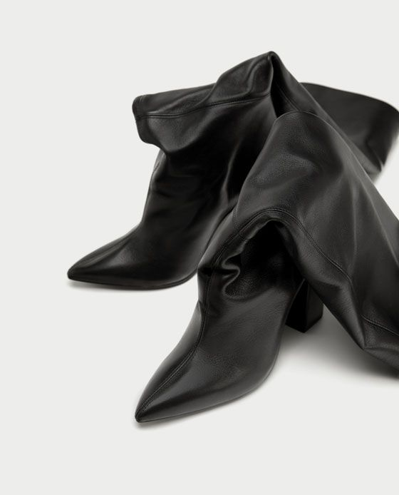 ZARA - WOMAN - LEATHER HIGH HEEL BOOTS WITH WIDE LEG