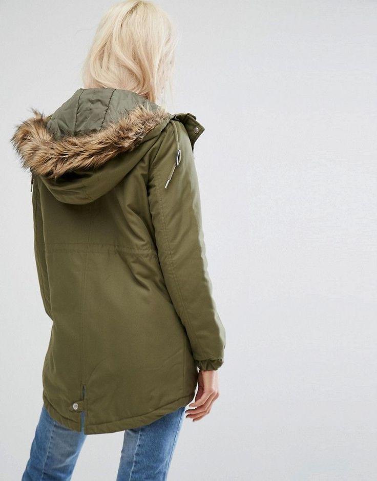Noisy May Faux Fur Parka - Green