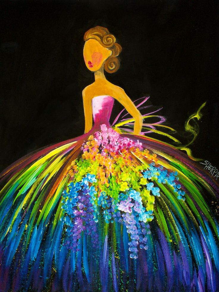 16 EASY Acrylic paintings you can do with cotton Swabs. Q-tips How to paint a girl With Rainbow Dress  Easy Beginner Acrylic painting By The Art Sherpa