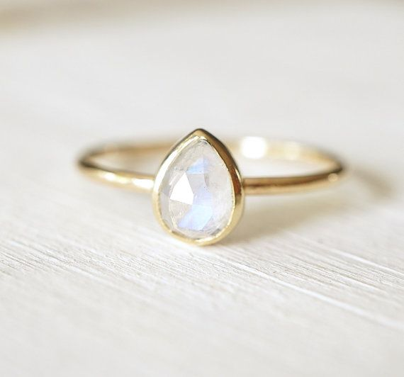 Moonstone Ring Rose Cut Ring Pear Shaped Ring 14k Gold by Luxuring