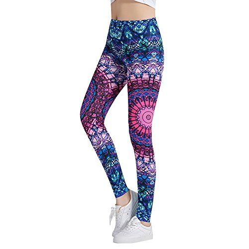 905622d47c4b1f Funbase Women Mandala Floral High Waist Leggings Spring Yoga Ride Sports  Tight Pants(M£