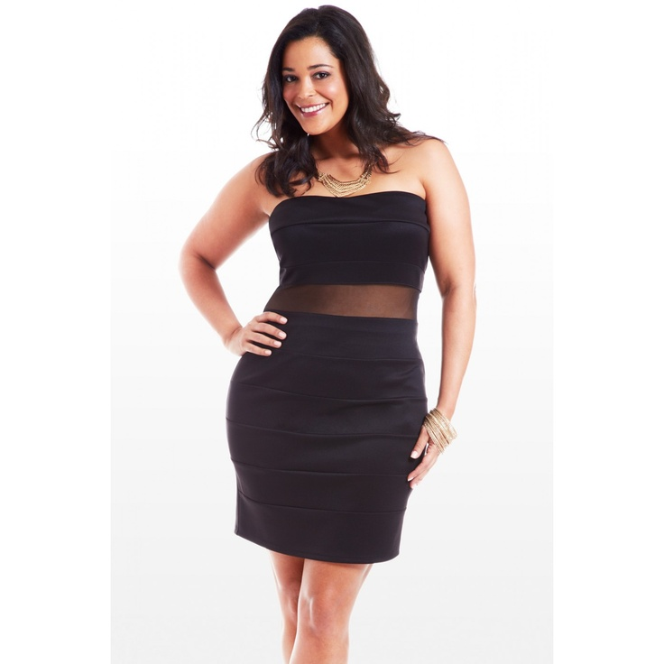 Stop and Stare Mesh Strapless Dress