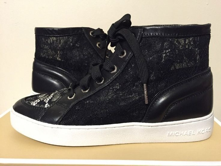 Michael Kors Philippa High Top Women's Fashion Sneakers Black Leather / Lace #MichaelKors #FashionFlatsLaceUpHighTopSneakers