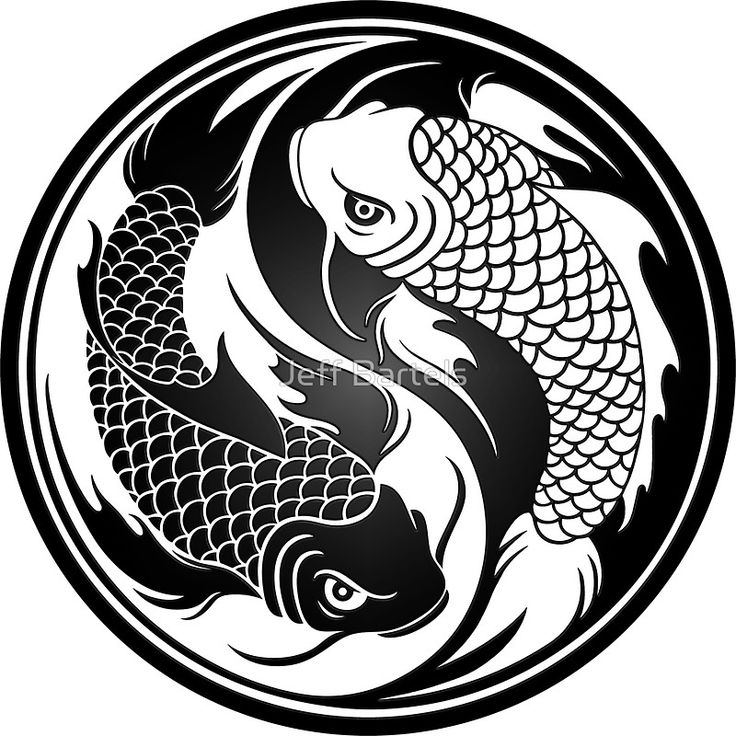 "Black and White Yin Yang Koi Fish"" Stickers by Jeff Bartels ..."