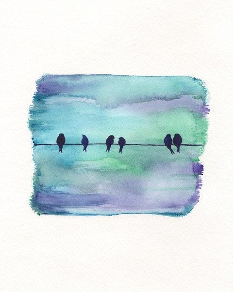 Morning Meeting / birds on a wire / night sky/blue,purple, green, teal, black / Watercolor Print