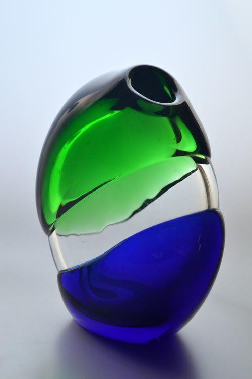 Buy * MODERN COBALT BLUE & EMERALD GREEN CZECH ART GLASS VASE, DESIGNED BY LADISLAV PALECEK IN 1977for R900.00