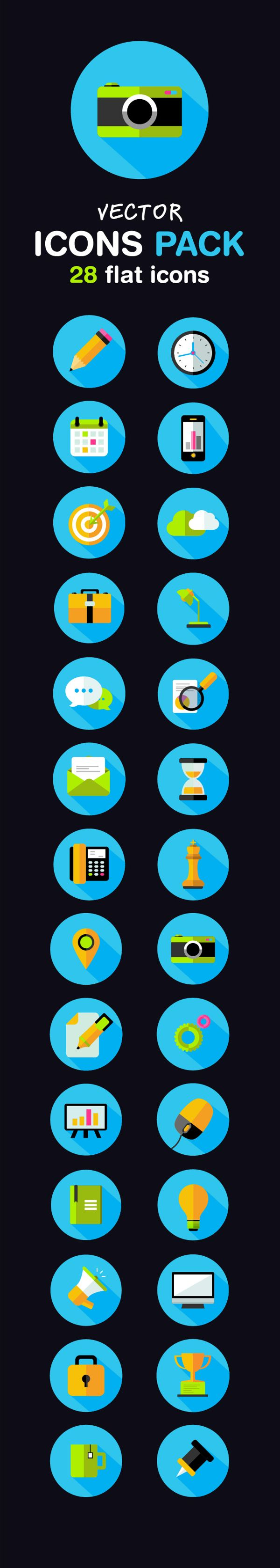 Free Flat Icons Pack by Alex Wishnewsky, via Behance