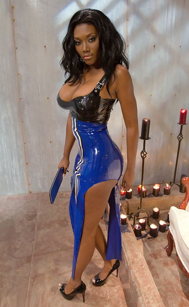 Femdom in black latex outfit and her sex slave 3