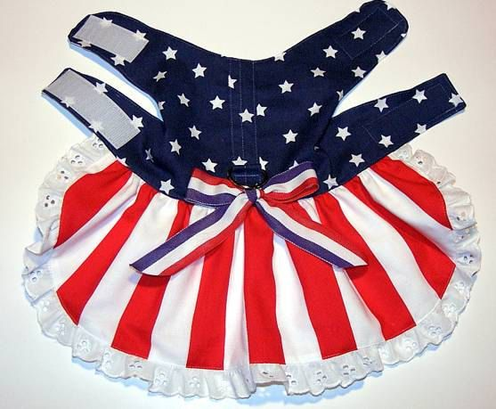 Patriotic Stars and Stripes Dog Harness Dress- Size XS