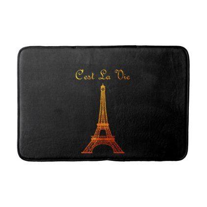 Paris: C'est La Vie Bathroom Mat - black gifts unique cool diy customize personalize