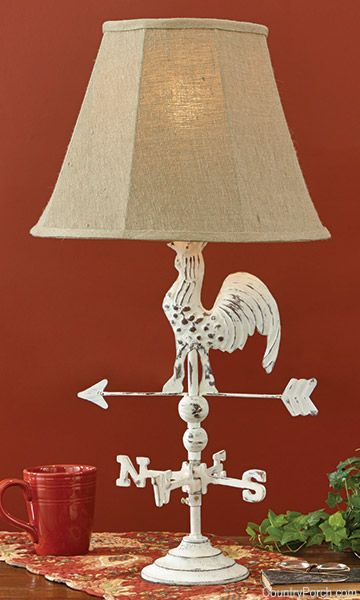 Cream Rooster Weathervane Lamp