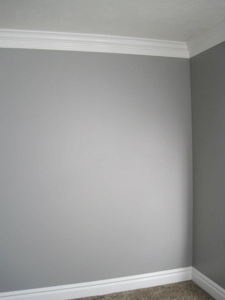 Grey Walls + White Moldings= Modern Sophisticate Inspired Room!