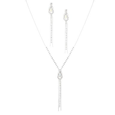 Diamante crystal and silver tassel lariat necklace and drop earring set - Matching sets - Jewellery - Women -