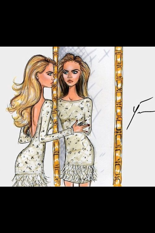 Image via We Heart It #art #fashion #fashionillustration #girl #life #model #painting #shabbychic #fashiondrawings #caradelevigne