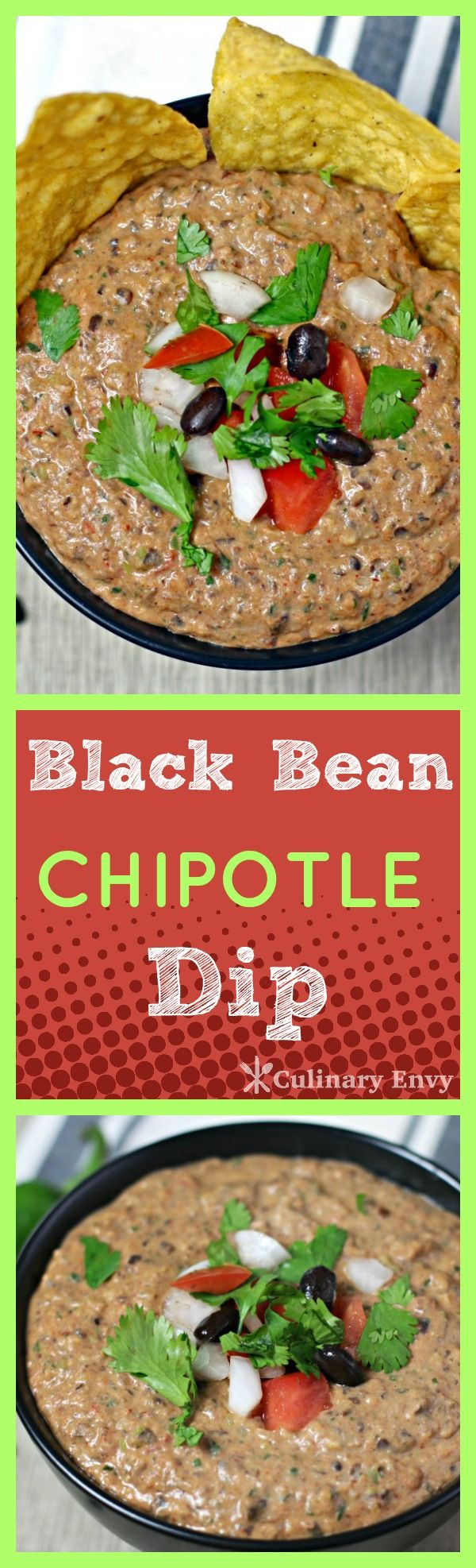 Black Bean Chipotle Dip is a FLAVOR explosion in your mouth!  Tangy, savory, smoky and a tiny bit sweet, this HOT dip disappears quickly!  Click to read more or pin and save for later!
