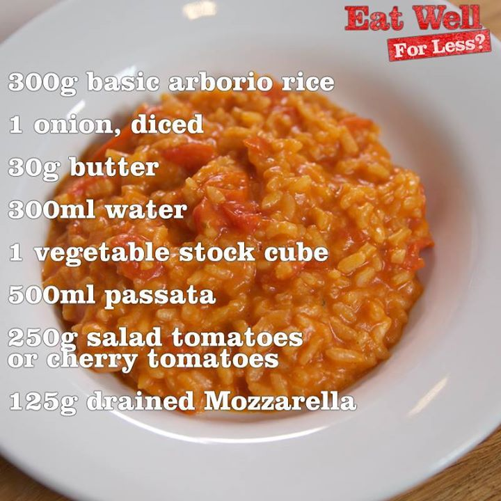 BBC Eat Well For Less - Tomato & Mozarella Risotto Video https://www.facebook.com/eatwellforless/videos/958546580854628/