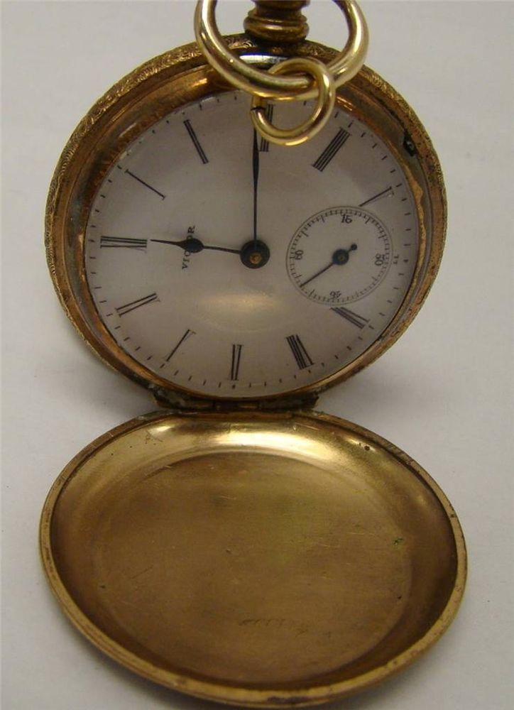 ANTIQUE VICTOR POCKET WATCH GOLD FILLED CASE CHOPARD'S PATENT 1881 RUNS #VICTOR