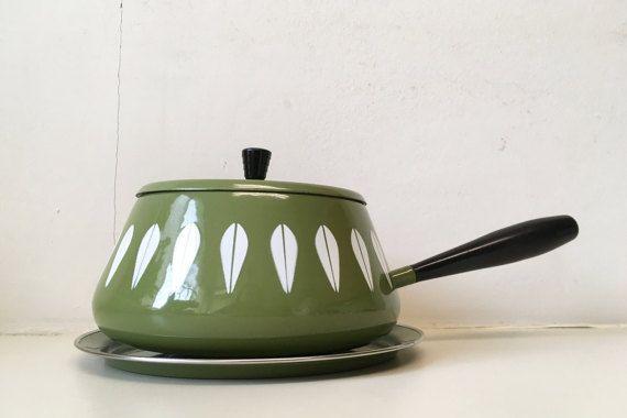 Cathrineholm Enamel Green Avocado Fondue Pot by CheckEngineVintage