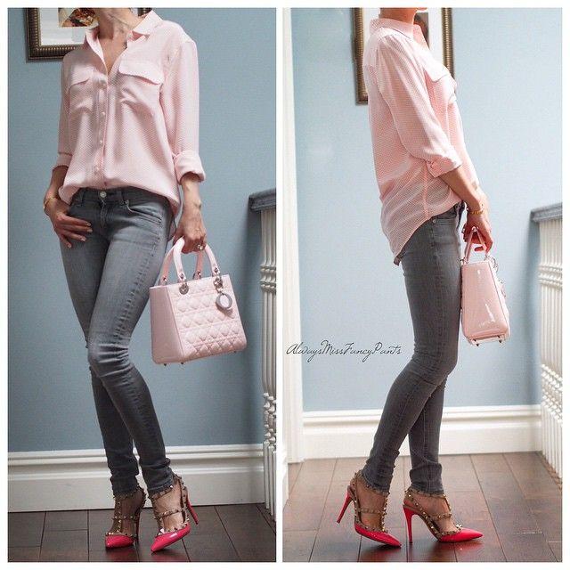 No Monday blues here... #RagandBone jeans #Equipment shirt #Valentino shoes #Dior #LadyDior