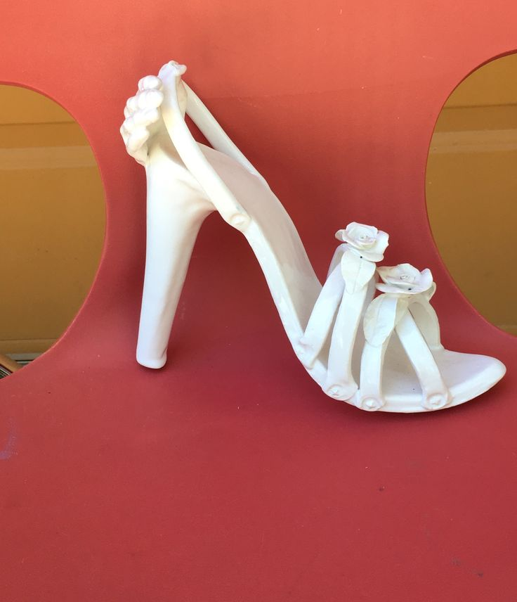White Shoe With Hand  Earthenware sculpture   By Jennifer Joyce