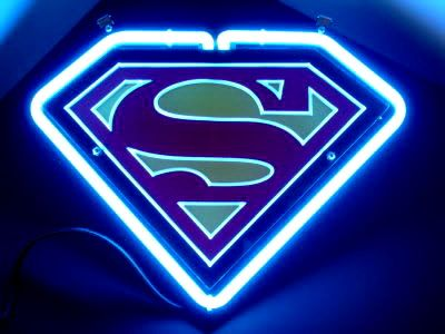 Superman Red Logo On Blue Neon Bar Mancave Sign Cool Neon Signs Neon Signs Neon