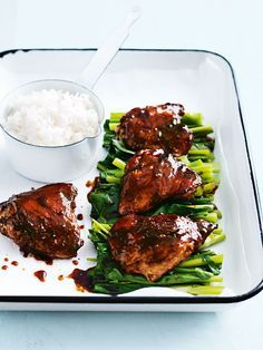 Sticky Roasted Thai Chicken. Serve with steamed rice and Chinese broccoli. This will be a repeat dish once your family tastes it:) YUM.