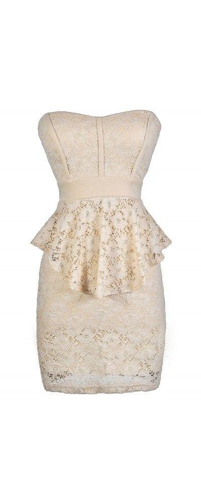 Ladylike Lace Peplum Pencil Dress in Beige