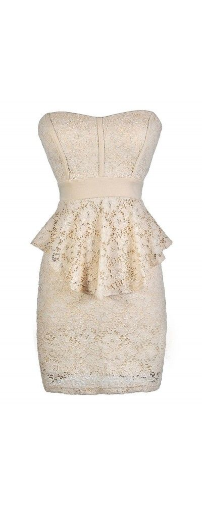 Ladylike Lace Peplum Pencil Dress in Beige