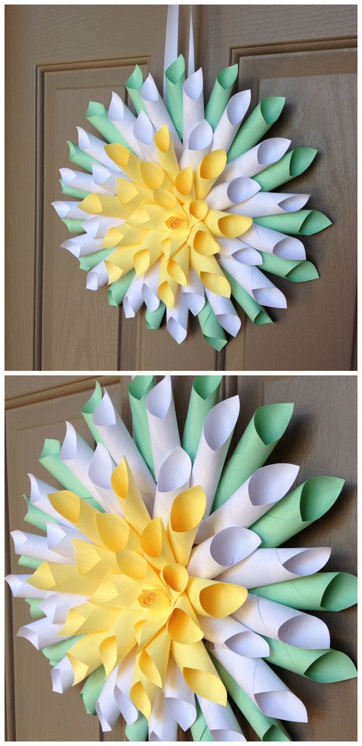 Simple & free DIY spring or Easter wreath. Giant paper ...