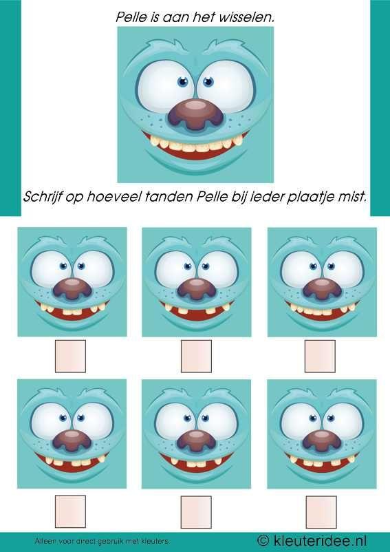 Hoeveel tanden zijn er uit de mond van Pelle, kleuteridee.nl , thema tandarts voor kleuter, how many teeth does Pelle miss, free printable.