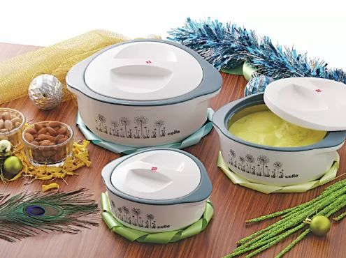 Cello Hot Meal Casserole Set (500 ml, 850 ml, 1500 ml) Just Rs.479