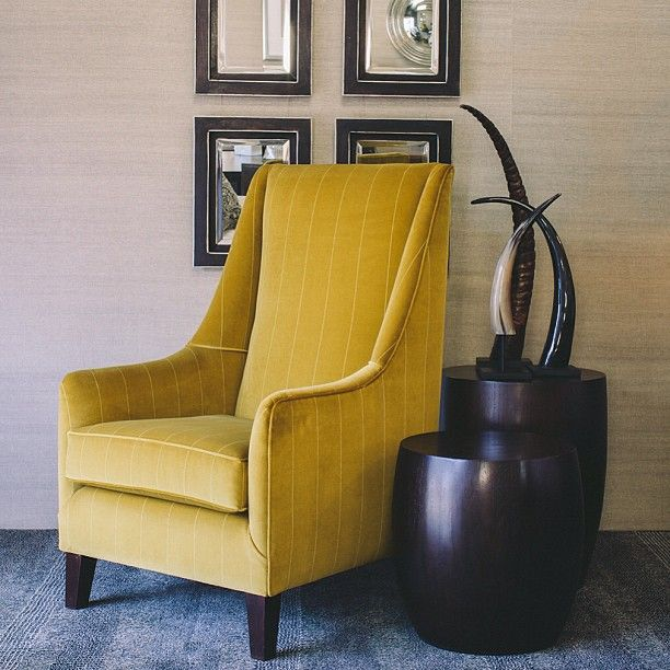 Style and comfort - Abbey Armchair, Congo Side Tables and Bone Inlaid Mirrors www.boydblue.com #boydblue #upholstery #australianmade #interiors #interiordesign #mustard #velvet