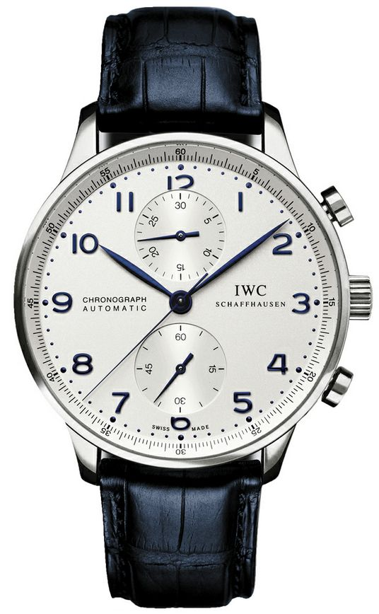 IW371446 NEW IWC PORTUGUESE CHRONOGRAPH AUTOMATIC MENS WATCH Usually ships within 8 weeks - FREE Overnight Shipping - NO SALES TAX (Outside California)- WITH MANUFACTURER SERIAL NUMBERS- Silver Dial- Chronograph Feature - Self Winding Automatic Movement-