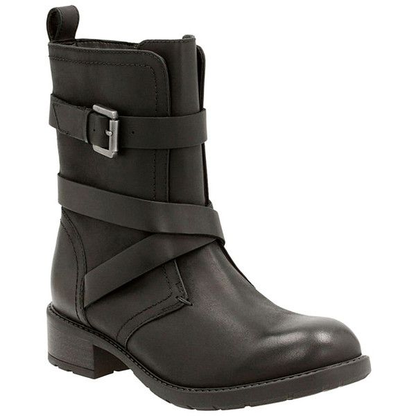 Clarks Black Swansea Tobin Leather Boot (78 AUD) ❤ liked on Polyvore featuring shoes, boots, ankle boots, black bootie boots, clarks boots, short black boots, black ankle boots and leather ankle boots