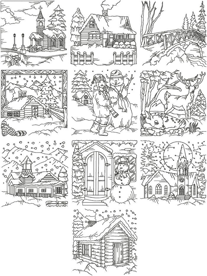 Advanced Embroidery Designs - Redwork Winter Scene Set