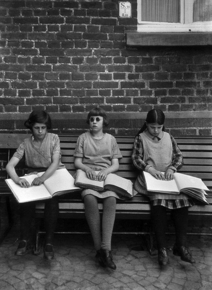August Sander. Blind Children Reading.