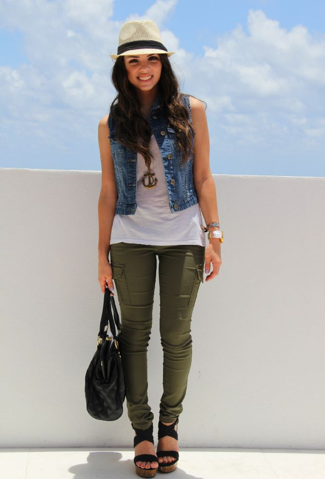 Olive green pants + white tank + denim. I'd wear a variation of this, maybe different accessories though