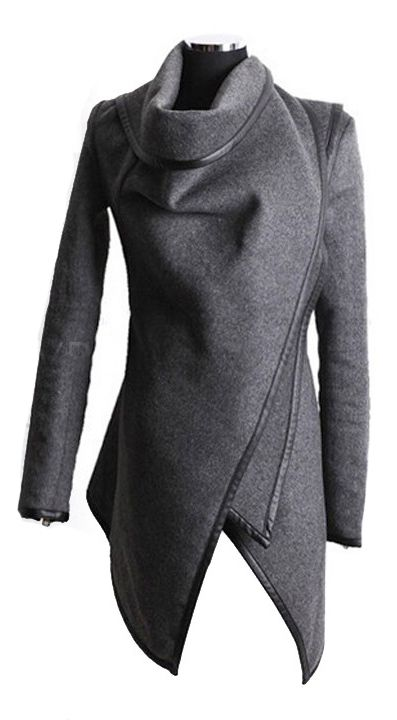 Grey wrap coat